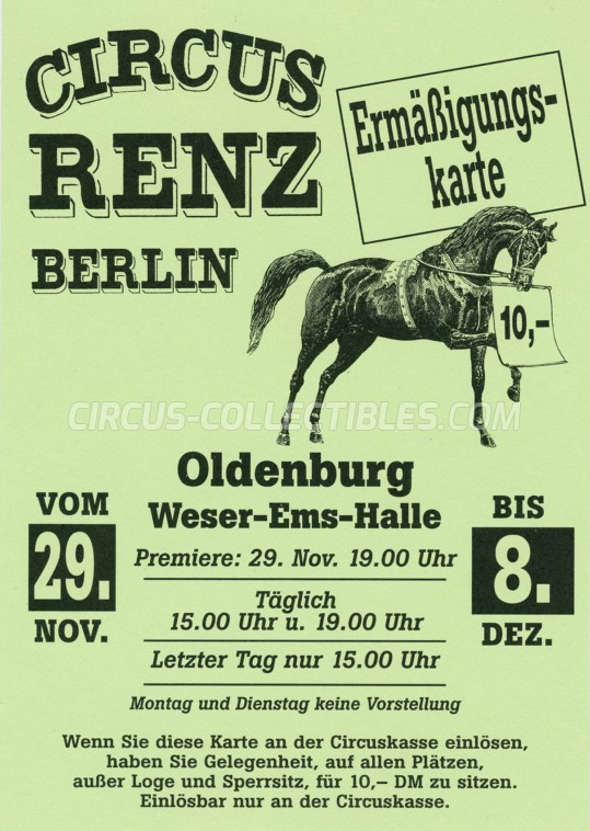 Renz Berlin Circus Ticket/Flyer - Germany 0