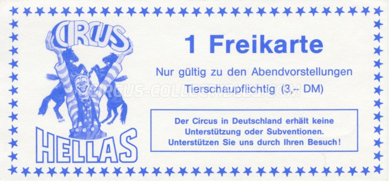 Hellas Circus Ticket/Flyer -  1988