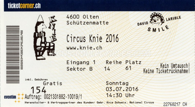 Knie Circus Ticket/Flyer - Switzerland 2016