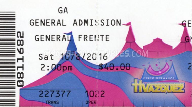 Hermanos Vazquez Circus Ticket/Flyer - USA 2016