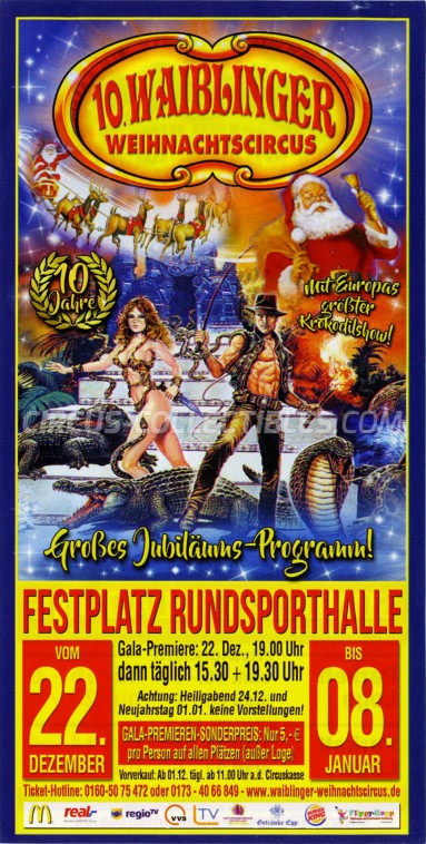 Waiblinger Weihnachtscircus Circus Ticket/Flyer - Germany 2016