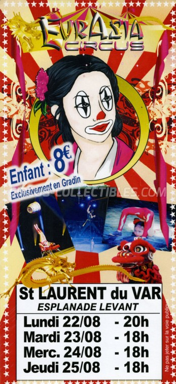 Eurasia Circus Circus Ticket/Flyer - France 2016