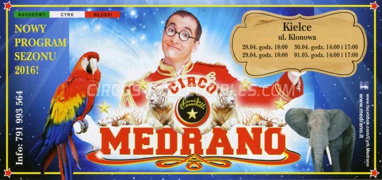 Medrano (Casartelli) Circus Ticket/Flyer - Poland 2016