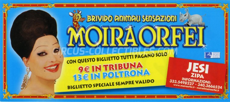 Moira Orfei Circus Ticket/Flyer - Italy 2009