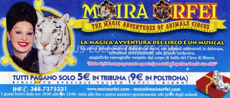 Moira Orfei Circus Ticket/Flyer - Italy 2003