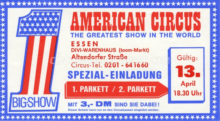 American Circus Circus Ticket/Flyer - Germany 1980