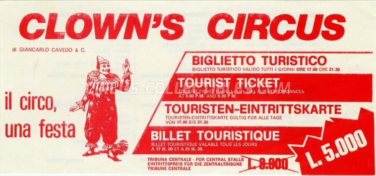 Clown's Circus Circus Ticket/Flyer -  1984