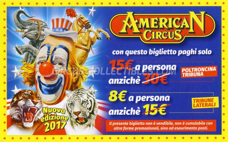 American Circus Circus Ticket/Flyer - Italy 2017