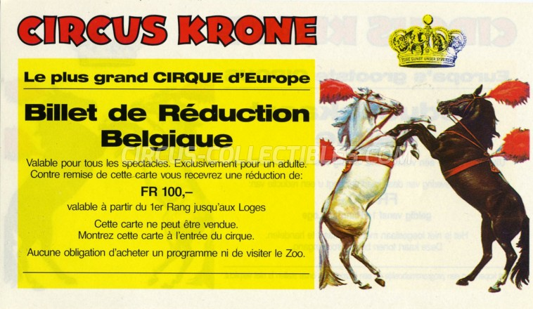 Krone Circus Ticket/Flyer - Belgium 0