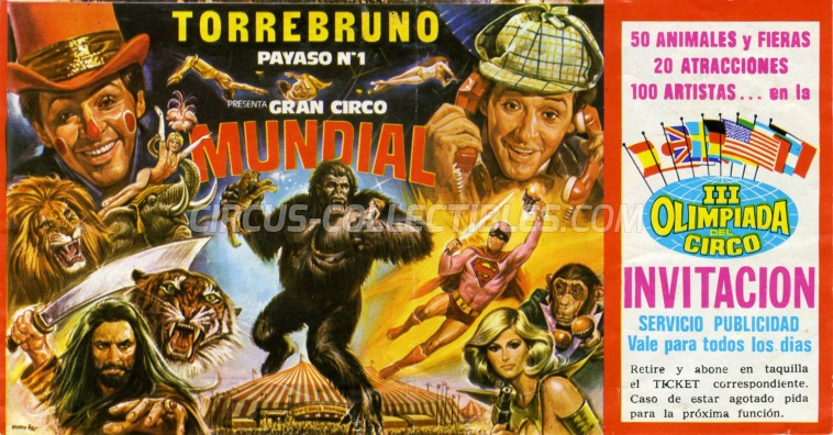 Mundial Circus Ticket/Flyer -  1983