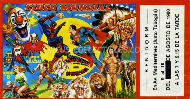 Mundial Circus Ticket/Flyer - Spain 1980