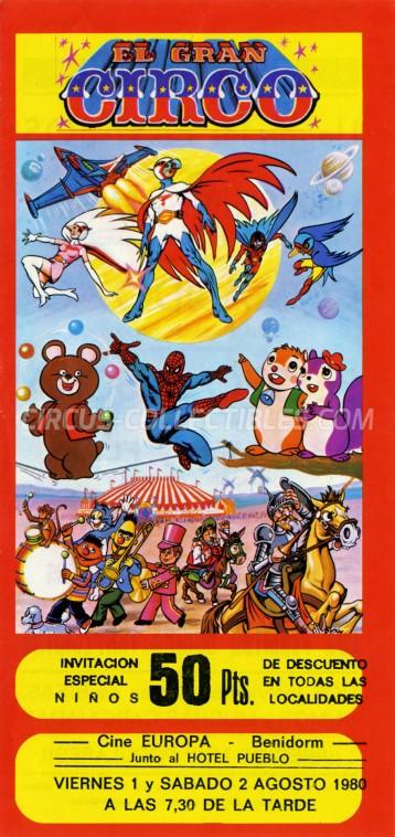 El Gran Circo Circus Ticket/Flyer - Spain 1980
