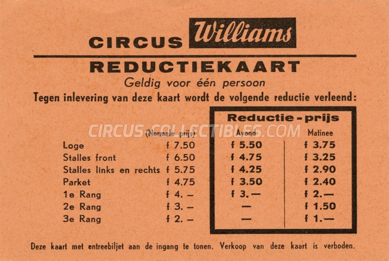 Williams Circus Ticket/Flyer - Netherlands 1961