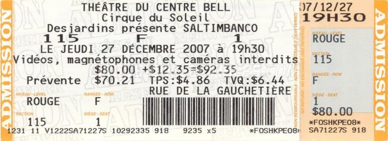 Cirque du Soleil Circus Ticket/Flyer - Canada 2007