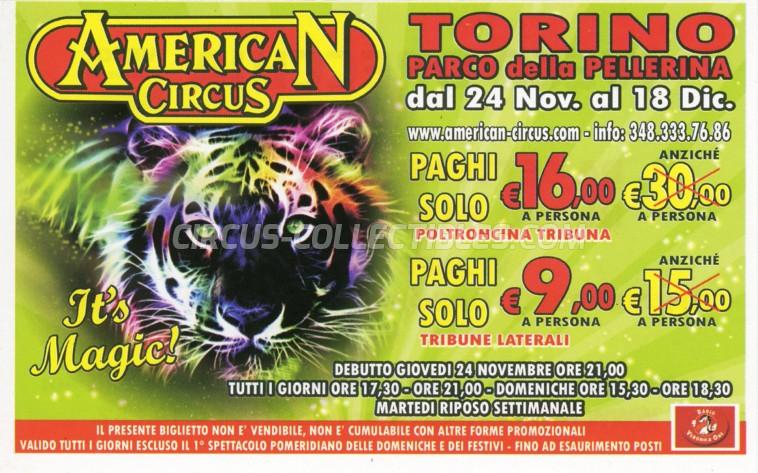 American Circus Circus Ticket/Flyer - Italy 2011