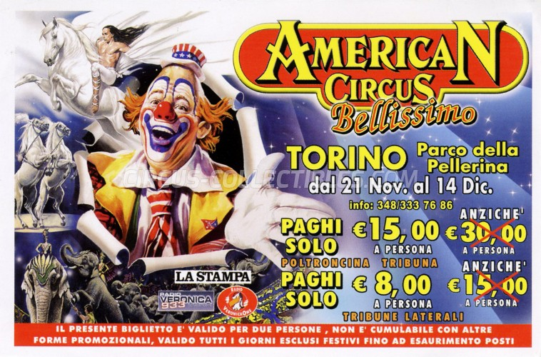 American Circus Circus Ticket/Flyer - Italy 2008
