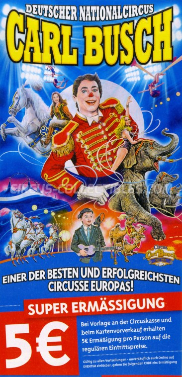 Carl Busch Circus Ticket/Flyer - Germany 2017