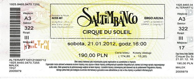 Cirque du Soleil Circus Ticket/Flyer - Poland 2012