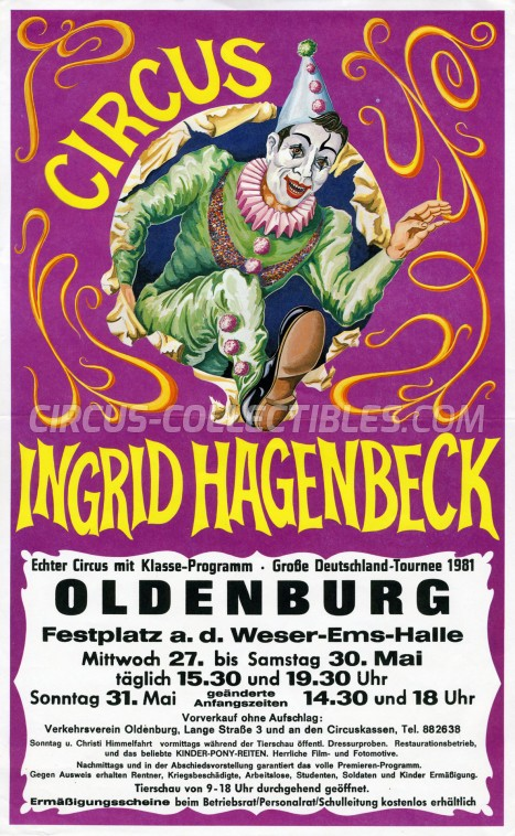 Ingrid Hagenbeck Circus Ticket/Flyer - Germany 1981