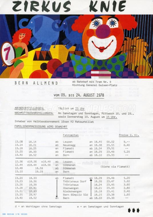 Knie Circus Ticket/Flyer - Switzerland 1978