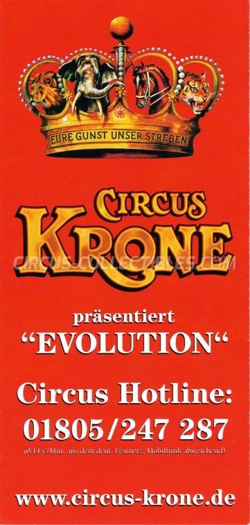 Krone Circus Ticket/Flyer -  2015