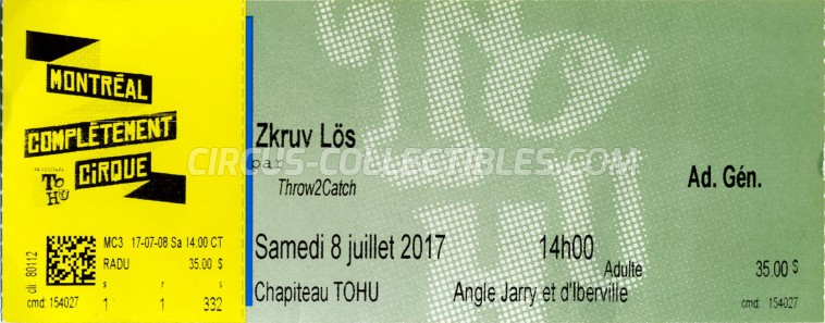 Zkruv Lös Circus Ticket/Flyer - Canada 2017