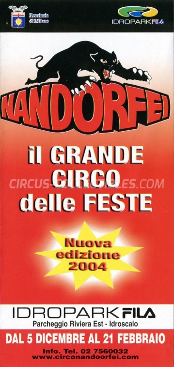 Nando Orfei Circus Ticket/Flyer - Italy 2003
