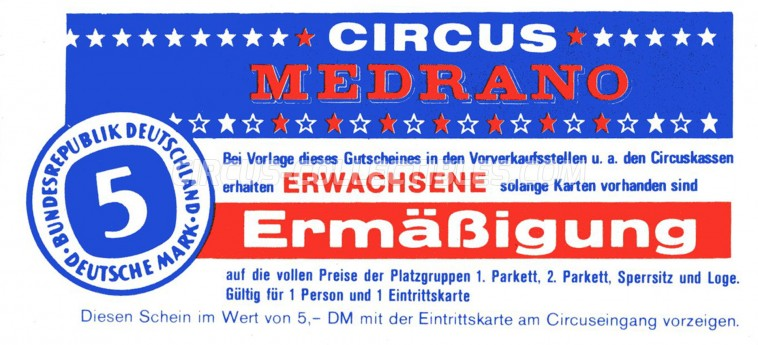 Medrano (DE) Circus Ticket/Flyer -  0