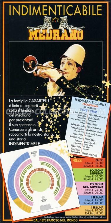 Medrano (Casartelli) Circus Ticket/Flyer -  1993