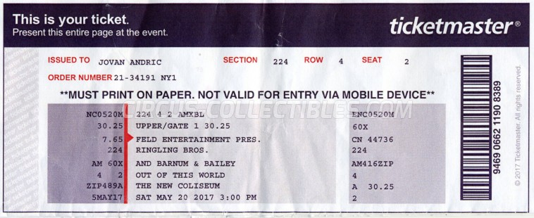 Ringling Bros. and Barnum & Bailey Circus Circus Ticket/Flyer - USA 2017