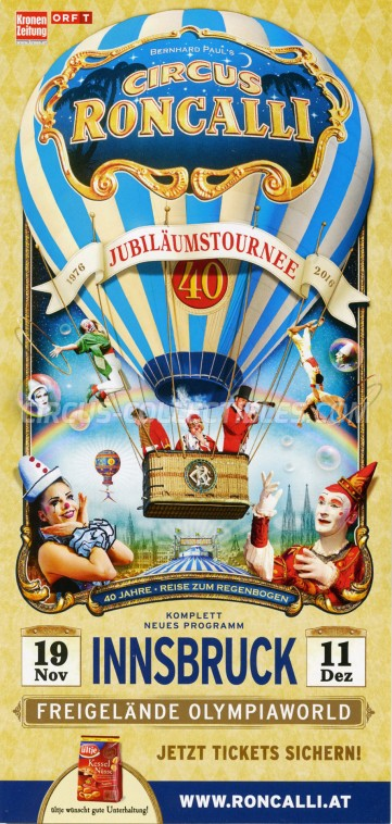 Roncalli Circus Ticket/Flyer - Austria 2016