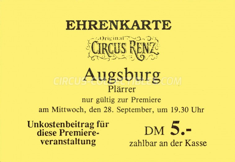 Renz Circus Ticket/Flyer - Germany 1977