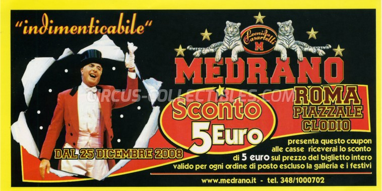 Medrano (Casartelli) Circus Ticket/Flyer - Italy 2008
