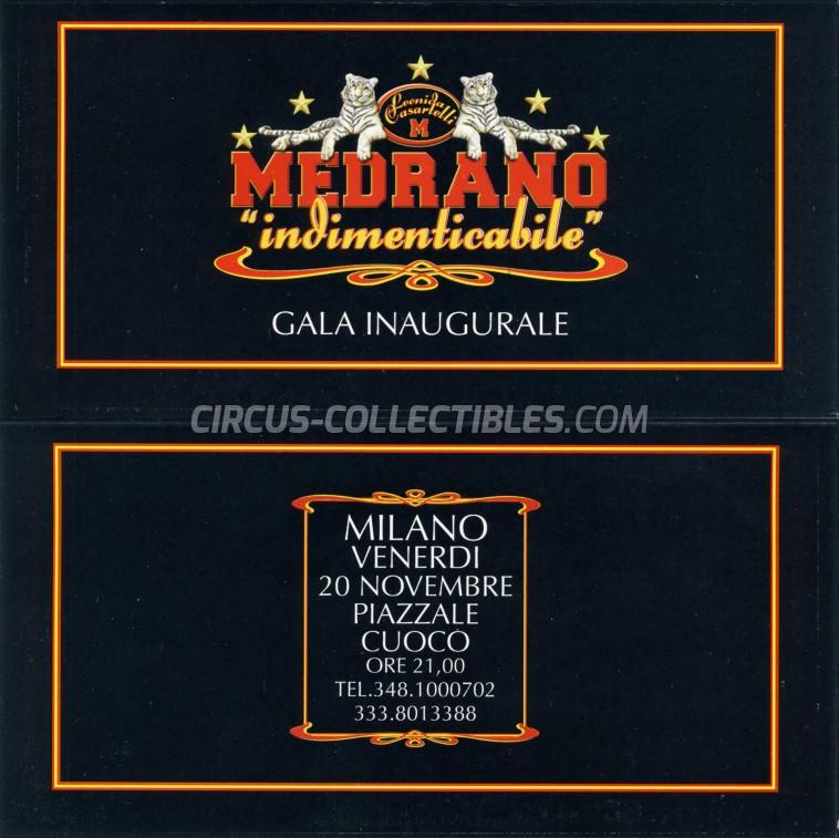 Medrano (Casartelli) Circus Ticket/Flyer - Italy 2009