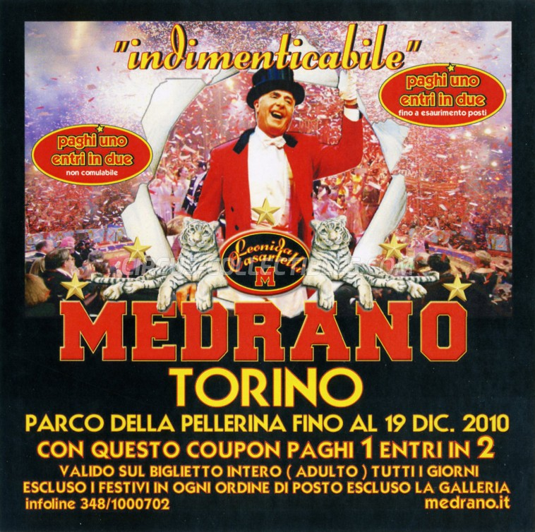 Medrano (Casartelli) Circus Ticket/Flyer - Italy 2010