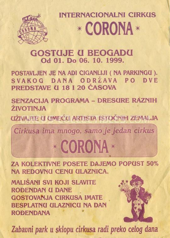 Corona Circus Ticket/Flyer - Serbia 1999