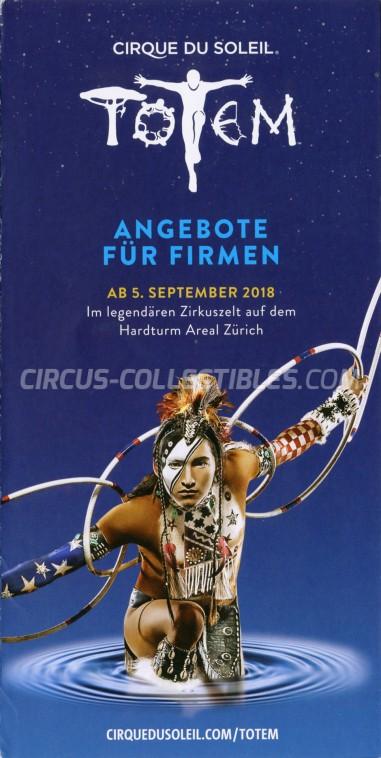 Cirque du Soleil Circus Ticket/Flyer - Switzerland 2018