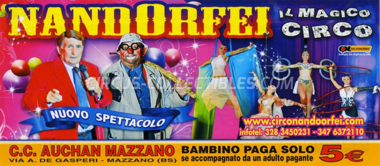 Nando Orfei Circus Ticket/Flyer - Italy 2013