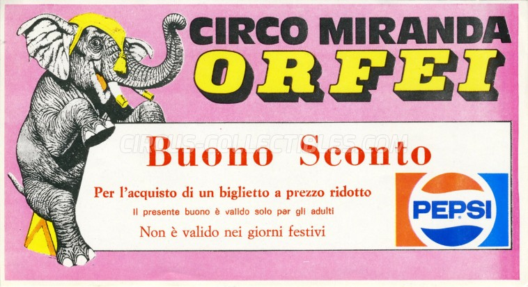 Miranda Orfei Circus Ticket/Flyer -  1985