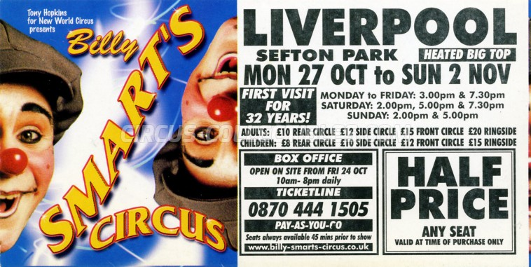 Billy Smart's Circus Circus Ticket/Flyer - England 2003