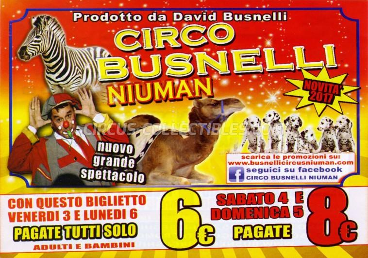 Busnelli Niuman Circus Circus Ticket/Flyer - Italy 2017