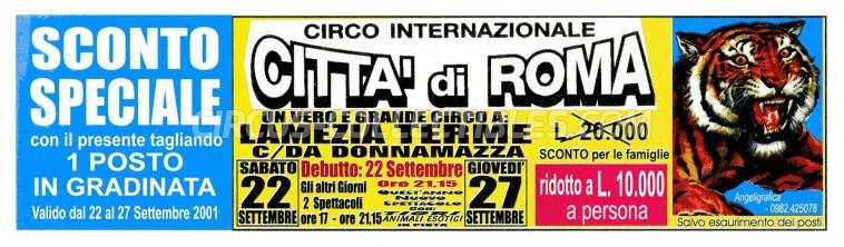 Citta' di Roma Circus Ticket/Flyer - Italy 2001