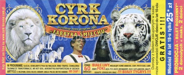 Korona Circus Ticket/Flyer -  2013