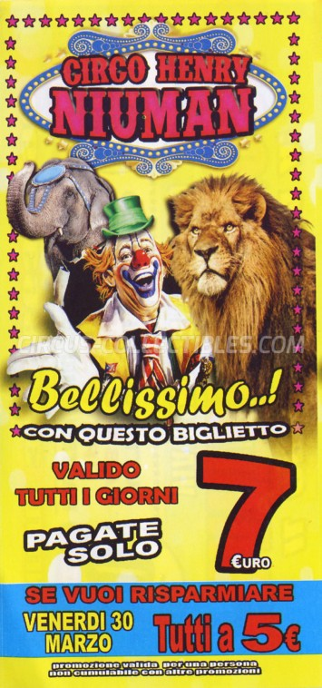 Henry Niuman Circus Ticket/Flyer - Italy 2012