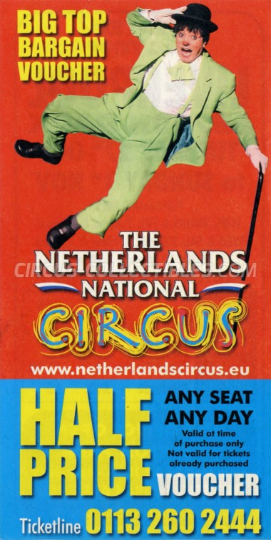 The Netherlands National Circus Circus Ticket/Flyer - England 2009