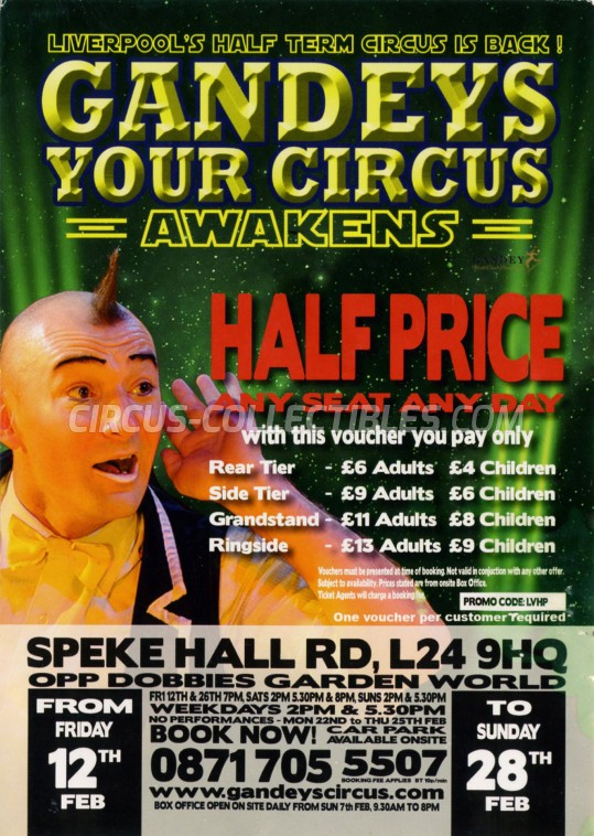 Gandeys Circus Circus Ticket/Flyer - England 2016