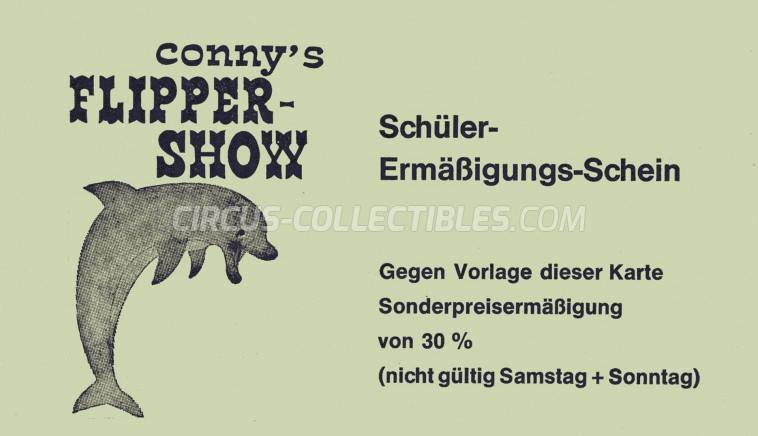 Conny's Flipper Show Circus Ticket/Flyer -  1975