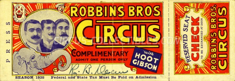 Robbins Bros. Circus Circus Ticket/Flyer -  1938
