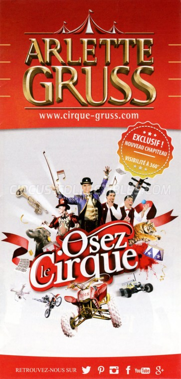 Arlette Gruss Circus Ticket/Flyer - France 2018