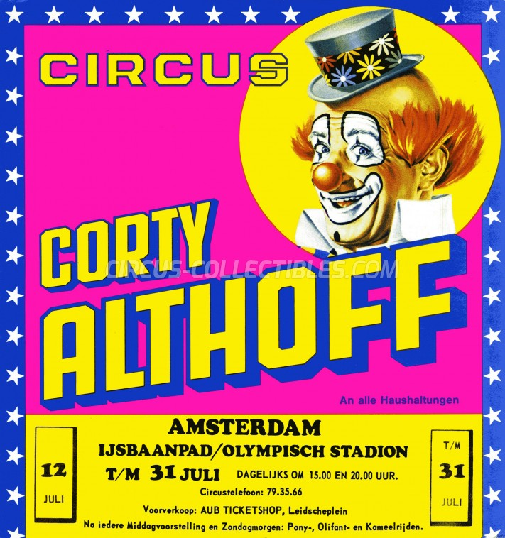 Corty Althoff Circus Ticket/Flyer - Netherlands 0